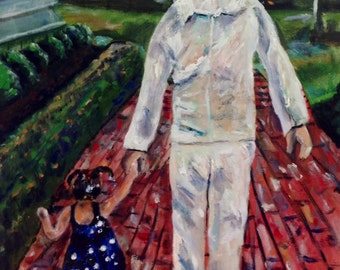 Daddy's Little Girl  Original Oil Painting Custom Family Painting Portrait by Marlene Kurland  18x24 Sold/Example