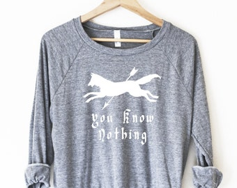 Jon Snow and Ygritte, You Know Nothing, Pullover - made in USA by So Effing Cute - Game of Thrones inspired design