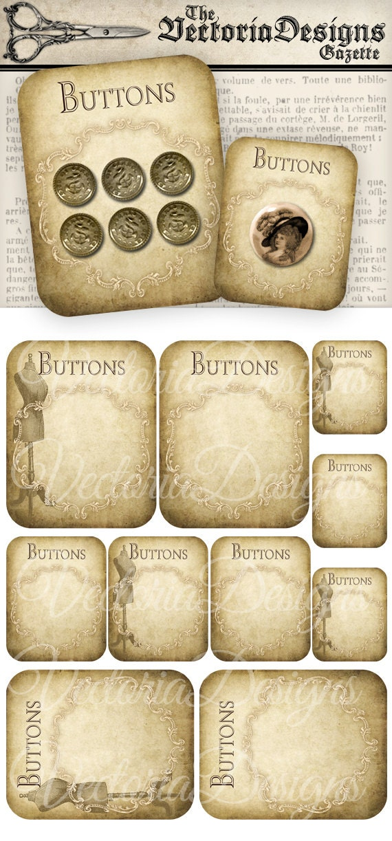 Printable Vintage Button Cards Sewing Hobby Crafting