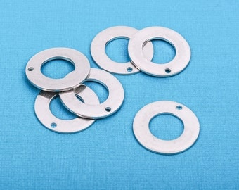"2 pcs Open WASHER Donut Shape ImpressArt Soft Strike PEWTER™ Metal Stamping Blanks Charms, 15/16"" (24mm), 16 gauge msb0139"