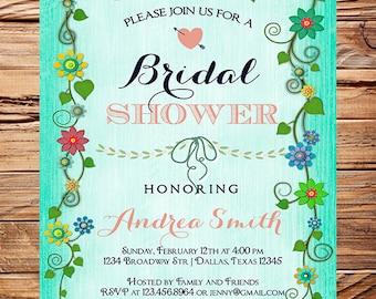 Floral Border Bridal shower Invitation,Coral, Pink, Teal, Wedding Shower Invitation,Spring Floral Invite,Flowers, digital, 5188