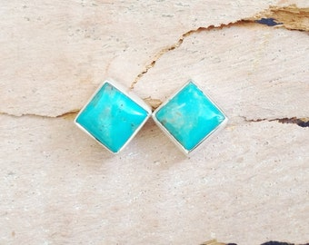 Turquoise Stud Earrings- Square Turquoise Sterling Silver Earrings- Turquoise Post Earrings- Stone Earrings- Square Stud- Bridesmaid Gift