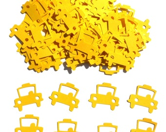 Yellow Taxi Cab Themed Party Confetti Set of 100 Assorted Pieces
