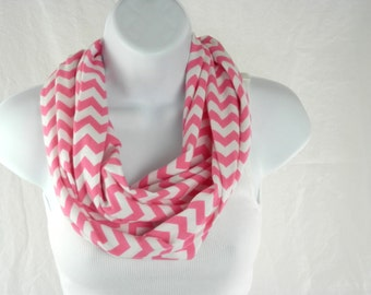 Womens Infinity Scarf Candy Pink and White Chevron Cotton Knit Double Loop Scarf