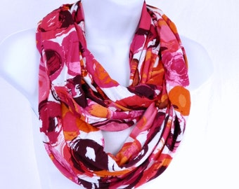 Pink Red Infinity Scarf in Cheerful Pink Magenta Coral Red Orange Brushstroke Cirlces Handmade Double Loop Scarf by Thimbledoodle