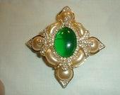 vintage hutton wilkinson maltese cross brooch pearl brooch green brooch layered brooch pave crystal brooch stunning brooch green center pin