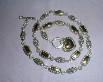 vintage premier designs necklace two tone filigree links heart charm toggle closure