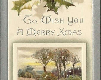 Holly Berries and Winter Scene Serene Country Vintage Christmas Card To Wish You A Merry Xmas