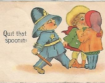 "Antique Postcard ""Quit That Spoonin."" 1914 SB Samson Bros Police Officer Copper Comic"