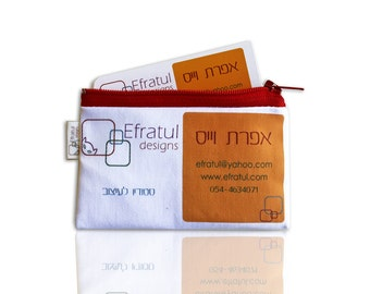 Customized Business card holder designed as your business card -  zipper pouch, coin purse with your business card design and logo on it