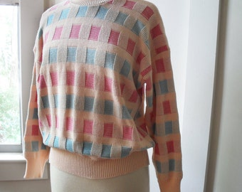 Pastel Checkered Graphic 1980s Sweater Peach Pink and Turquoise Ugly 1980s Sweater