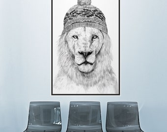 """Lion Wall Decal Sticker (Rectangle) """"Winter is Coming"""" by Balázs Solti"""