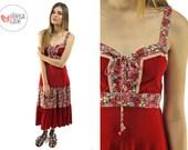 Vintage 70s floral boho dress / Faux Suede 70s Dress / 70s Hippie Dress . md