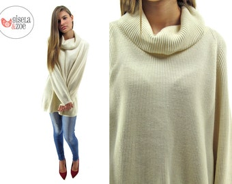 80s Oversized Slouch Ribbed Sweater ΔΔ Cream Minimalist Boyfriend Sweater Cowl Neck Sweater ΔΔ can fit • sm • md • lg