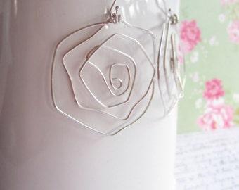 Silver Wire Earrings, Rose Earrings, Swedish Jewelry Design, Made in Sweden, Scandinavian Jewelry