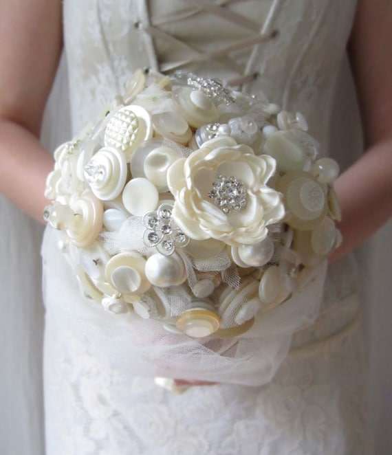 Items Similar To Button Bouquet, Fabric Flower Wedding