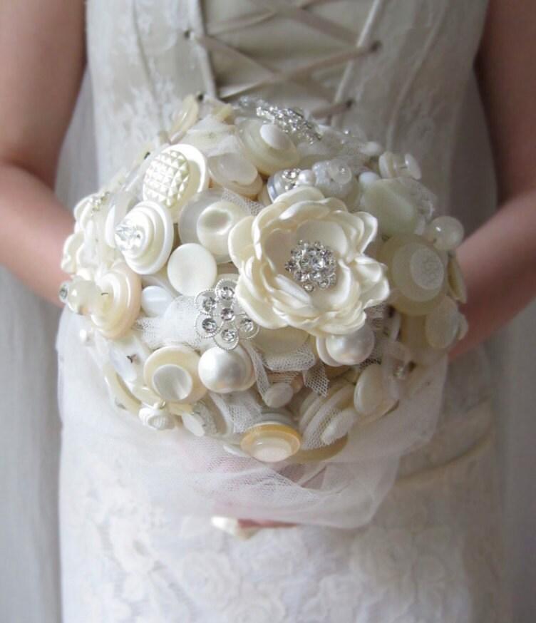 Button Bouquet Fabric Flower Wedding Bouquet By DesignByThyll