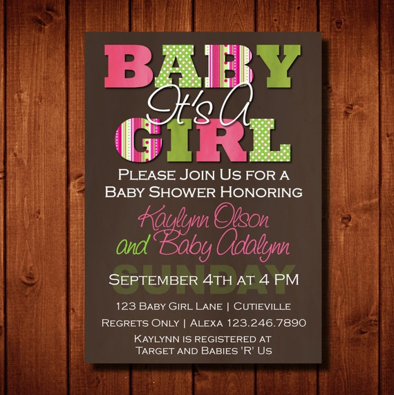 Modern It's A Girl Baby Shower Invitation Rich Brown Pink Green Digital File or Add Prints Front & Back