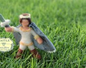 Prince with cape and sword. Needle-felted Waldorf Playscape Size Doll by Castle of Costa Mesa