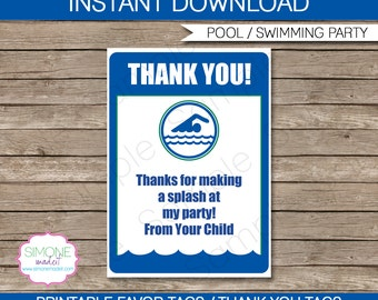 Pool Party Favor Tags - Thank You Tags - Birthday Party Favors - INSTANT DOWNLOAD with EDITABLE text template - you personalize at home