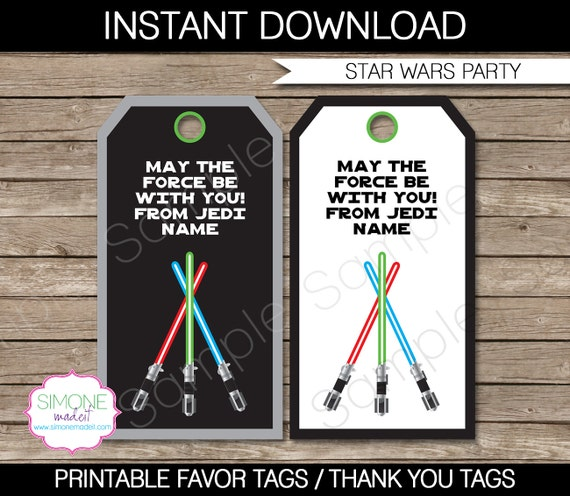 Star Wars Party Favor Tags - Thank You Tags - Birthday Party Favors ...
