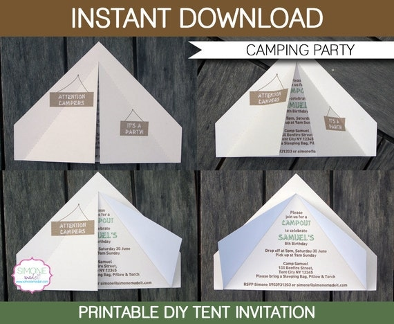 camping tent invitation instant download by simonemadeit