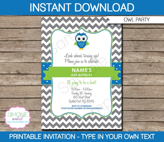owl invitation template birthday party instant download