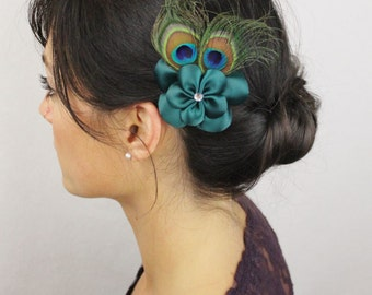 Forest Green Flower Peacock Feathers Hair Clip - Double Peacock Feather Hair Bow with Dark Green Flowers - Custom Colors Available