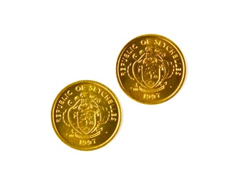 Seychelles Coin Cufflinks - Men's Jewelry - Handmade - Gift Box Included