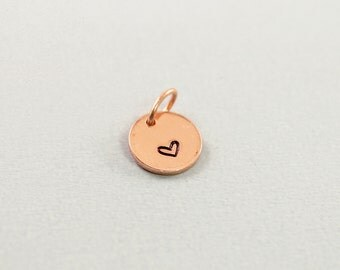 Hand stamped pendant - copper heart pendant engraved charm, custom love jewelry heart charm, personalized charm small charm