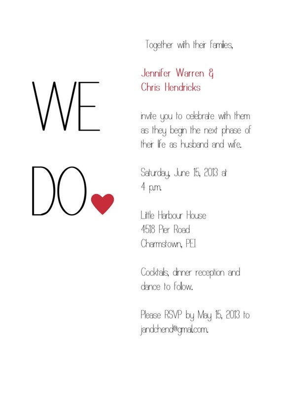 "PRINTABLE Simple red, black and white ""we do"" wedding invitation"