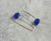 Long Recycled Glass Bead Earrings.  Handmade Recycled Glass Beads made from a Skyy Vodka Bottle