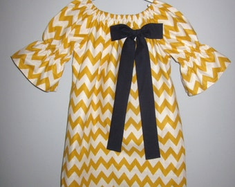 Mustard Yellow Chevron Peasant Dress with Navy Bow 6 12 18 24 2T 3T 4T 5/6 7/8 9/10 11/12 13/14