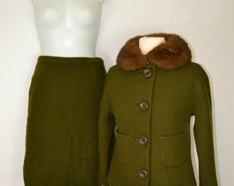 1950s Dark Green 2 Piece Suit - Jacket and Skirt by Tailored by Braetan Juniors, The Stern E Mann Co