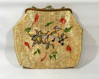 1960s Natural Blonde Plastic Straw Raffia with Embroidery Handbag