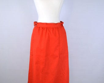 Vintage Orange Knee Length Wrap Skirt by White Stag, Office, Every Day Wear, Retro