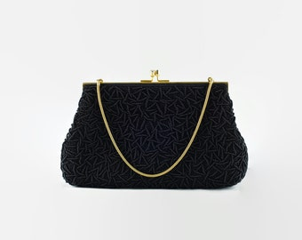 Vintage Black Beaded Convertible Evening Bag/Clutch