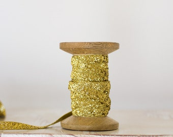 Gold Glitter Velvet Ribbon (with Wooden Spool) - 5 yards