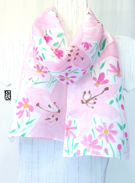 Hand Painted Silk Scarf, Pastel Pink Lilies with pink petite Daisy flowers, Pink Silk Scarf. Floral Scarf, Silk Scarves Takuyo. 8x54 inches.