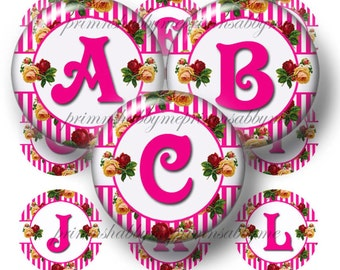 Bottle Cap Images Alphabet Vintage Roses Digital Collage Sheet  1 inch Circles Buy 5 Get 5 Free