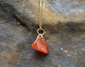 Vintage Orange Agate Stone Pendant Polished Stone