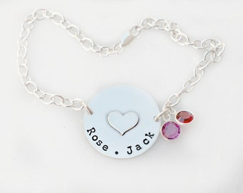 Hand Stamped Bracelet- Handstamped Mommy Jewelry- Solid Disc with Heart and Birthstones
