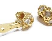 Vintage KJL Earrings Gold over Silver Signed 1960s Kenneth J Lane