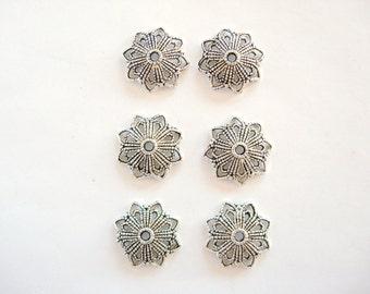 20 MM Bead Caps, 6 Lead Free Pewter bead caps 20 mm