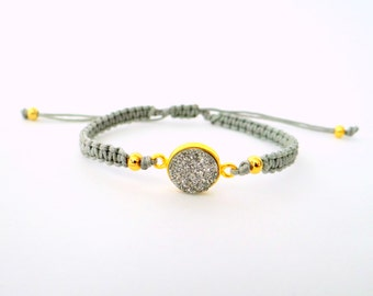 Silver Druzy Macrame Bracelet with Gold Beads and Grey Thread