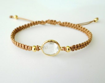 Macrame Bracelet with Crystal Glass Faceted Connector with Gold Beads and Latte Thread