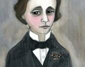 Lewis Carroll Literary Portrait Art Print Victorian Writer (6x8) Gothic Room Decor
