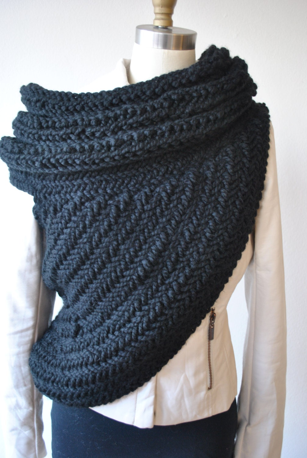 Cowl Vest Knitting Pattern Free : Huntress cowl Chunky Cowl Post Apocalyptic Sweater Vest