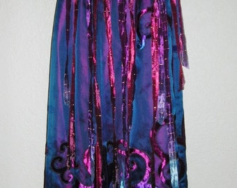 Festival Party Dancing Skirt Layers of Maroon Silk Dupioni Midnight Blue Organza Appliqued Ombre Velvet Topped with Ribbons