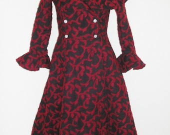 Marked Down! Sensational Coat Dress of Felted Red wool and Black Silk Chiffon Luxurious Swirling Coat Dress